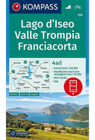 KP-106  Lago d Iseo/Franciacorta   Kompass wandelkaart 9783990444320  Kompass Wandelkaarten Kompass Italië  Wandelkaarten Zuidtirol, Dolomieten, Friuli, Venetië, Emilia-Romagna