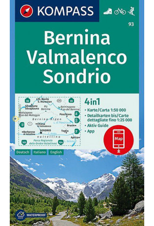 KP-93  Bernina, Sondrio 1:50.000   Kompass wandelkaart 9783990444368  Kompass Wandelkaarten Kompass Italië  Wandelkaarten Ligurië, Piemonte, Lombardije
