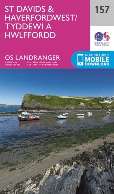 LR-157  St.Davids + Haverfordwest | topografische wandelkaart 9780319262559  Ordnance Survey Landranger Maps 1:50.000  Wandelkaarten Zuid-Wales, Pembrokeshire, Brecon Beacons