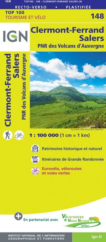 SV-148  Clermont-Ferrand, Mauriac   omgevingskaart / fietskaart 1:100.000 9782758547648  IGN Série Verte 1:100.000  Fietskaarten, Landkaarten en wegenkaarten Auvergne, Cantal, Forez