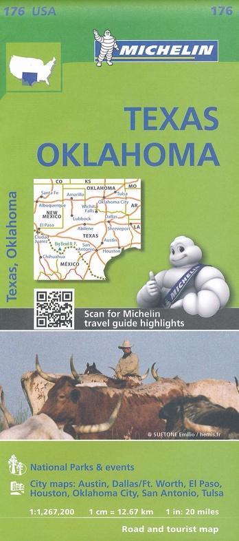 176 Texas - Oklahoma 1:1.500.000 9782067190931  Michelin Michelinkaarten USA  Landkaarten en wegenkaarten Centrale VS – Zuid (Texas)