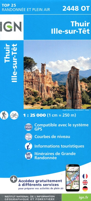 2448OT  Thuir, Ille-sur-Tet | wandelkaart 1:25.000 9782758542797  IGN TOP 25  Wandelkaarten Franse Pyreneeën, Toulouse, Gers, Garonne