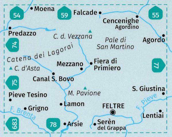 KP-76 Pale di San Martino 1:50.000 | Kompass wandelkaart 9783990445235  Kompass Wandelkaarten Kompass Italië  Wandelkaarten Zuidtirol, Dolomieten, Friuli, Venetië, Emilia-Romagna