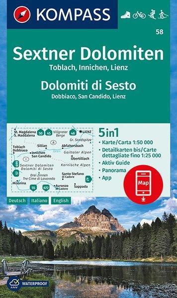KP-58 Sextener Dolomiten 1:50.000 | Kompass wandelkaart 9783990445464  Kompass Wandelkaarten Kompass Italië  Wandelkaarten Zuidtirol, Dolomieten, Friuli, Venetië, Emilia-Romagna