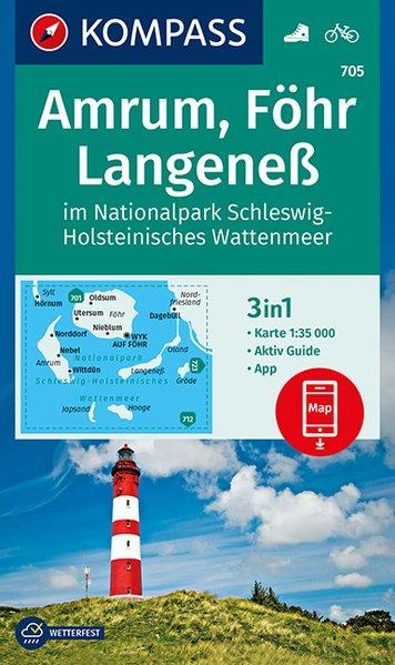 KP-705 Amrum/Föhr/Langeness | Kompass wandelkaart 1:35.000 9783990446102  Kompass Wandelkaarten Kompass Duitsland  Wandelkaarten Schleswig-Holstein, Lübeck