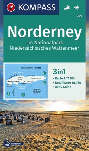 KP-729 Norderney | Kompass wandelkaart 1:17.500 9783990446140  Kompass Wandelkaarten Kompass Duitsland  Wandelkaarten Ostfriesland