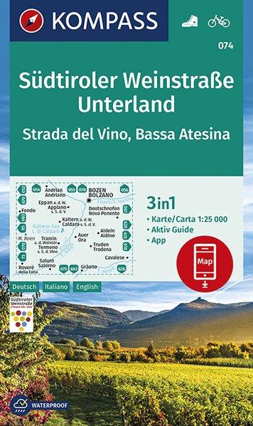 KP-074 Südtiroler Weinstrasse Unterland | Kompass wandelkaart 1:25.000 9783990446591  Kompass Wandelkaarten Kompass Italië  Wandelkaarten, Wijnreisgidsen Zuidtirol, Dolomieten, Friuli, Venetië, Emilia-Romagna