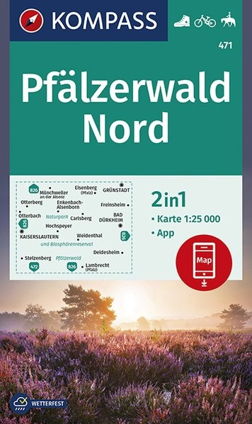 KP-471  Pfalz Naturpark Pfälzerwald Nord | Kompass wandelkaart 1:25.000 9783990446898  Kompass Wandelkaarten Kompass Duitsland  Wandelkaarten Pfalz, Deutsche Weinstrasse, Rheinhessen