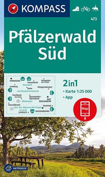 KP-473  Pfalz Naturpark Pfälzerwald Süd | Kompass wandelkaart 1:25.000 9783990446911  Kompass Wandelkaarten Kompass Duitsland  Wandelkaarten Pfalz, Deutsche Weinstrasse, Rheinhessen