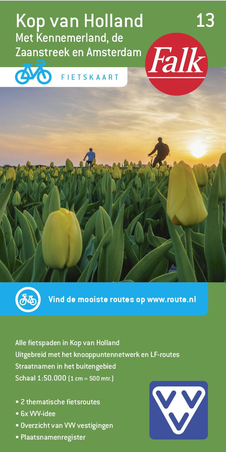 FFK-13  Kop van Noord-Holland 1:50.000 9789028730564  Falk Fietskaarten met Knooppunten  Fietskaarten Noord-Holland