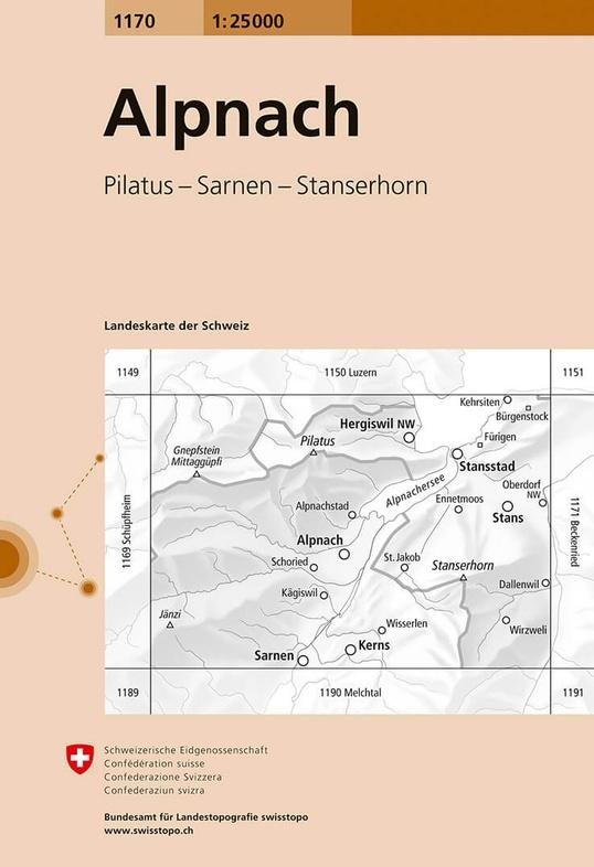 CH-1170  Alpnach [2016] topografische wandelkaart 9783302011707  Bundesamt / Swisstopo LKS 1:25.000  Wandelkaarten Noordoost- en Centraal Zwitserland