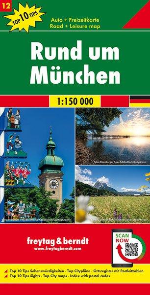 Rund um München | omgevingskaart München 1:150.000 9783707918120  Freytag & Berndt F&B deelkaarten Duitsland  Landkaarten en wegenkaarten Beierse Alpen