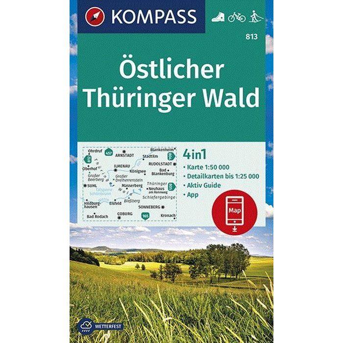 KP-813 Östlicher Thüringer Wald | Kompass wandelkaart 1:50.000 9783990447147  Kompass Wandelkaarten Kompass Duitsland  Wandelkaarten Thüringen, Weimar, Erfurt, Jena