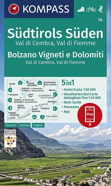 KP-74 Südtirols Süden, Bolzano, Vigneti e Dolomiti 1:50.000   Kompass wandelkaart 9783990447154  Kompass Wandelkaarten Kompass Italië  Wandelkaarten Zuidtirol, Dolomieten, Friuli, Venetië, Emilia-Romagna