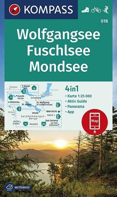 KP-018 Wolfgangsee | Kompass wandelkaart 9783990447161  Kompass Wandelkaarten Kompass Oostenrijk  Wandelkaarten Salzburg, Karinthië, Tauern, Stiermarken