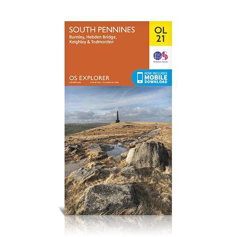 EXP-021  South Pennines | wandelkaart 1:25.000 9780319242605  Ordnance Survey Explorer Maps 1:25t.  Wandelkaarten Northumberland, Yorkshire Dales & Moors, Peak District, Isle of Man