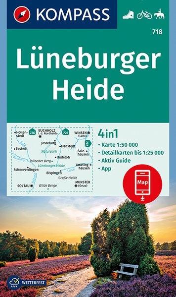 KP-718  Lüneburger Heide 1:50.000   Kompass wandelkaart 9783990443750  Kompass Wandelkaarten Kompass Duitsland  Wandelkaarten Lüneburger Heide, Elbufer