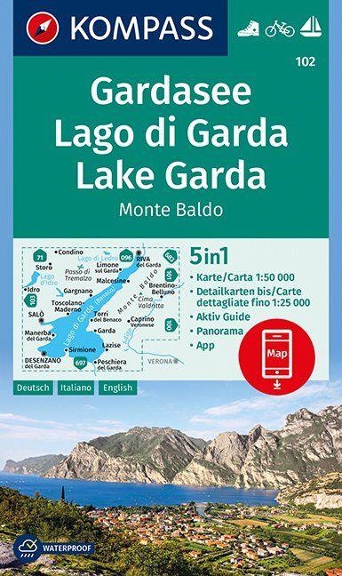 KP-102 Gardameer e.o. | Kompass wandelkaart 9783990443965  Kompass Wandelkaarten Kompass Italië  Wandelkaarten, Wijnreisgidsen Zuidtirol, Dolomieten, Friuli, Venetië, Emilia-Romagna