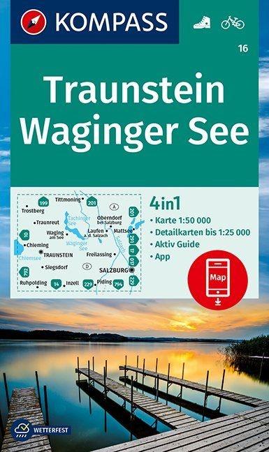 KP-16 Traunstein-Waginger See   Kompass wandelkaart 1:50.000 9783990447222  Kompass Wandelkaarten Kompass Duitsland  Wandelkaarten Beierse Alpen