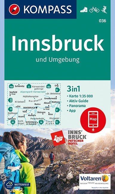 KP-036 Innsbruck und Umgebung | Kompass wandelkaart 9783990443798  Kompass Wandelkaarten Kompass Oostenrijk  Wandelkaarten Tirol & Vorarlberg
