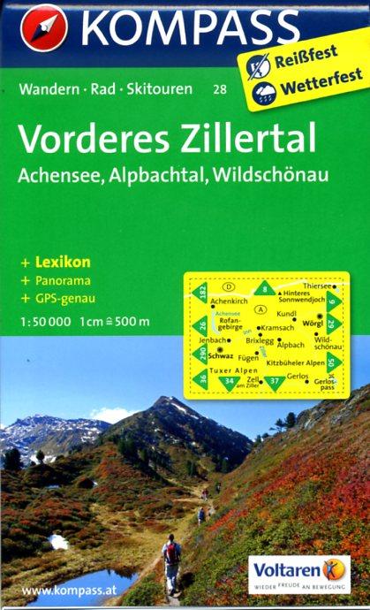 KP-28 Vorderes Zillertal | Kompass wandelkaart * 9783850265430  Kompass Wandelkaarten Kompass Oostenrijk  Wandelkaarten Tirol & Vorarlberg