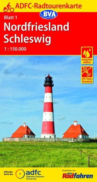 ADFC-01 Nordfriesland/Schleswig | fietskaart 1:150.000 9783870739072  ADFC / BVA Radtourenkarten 1:150.000  Fietskaarten Schleswig-Holstein, Lübeck