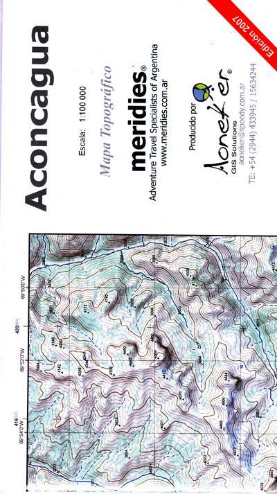 Aconcagua 1:100.000 AONACONCA100  Aoneker   Wandelkaarten Chili, Argentinië, Patagonië