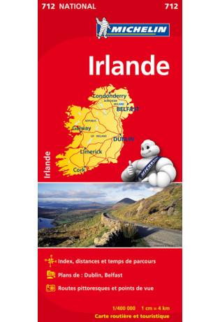 712 Ierland   Michelin  wegenkaart, autokaart 1:400.000 9782067170193  Michelin   Landkaarten en wegenkaarten Ierland