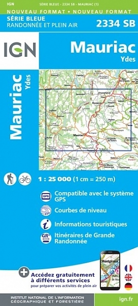 SB-2334SB Mauriac, Ydes   wandelkaart 1:25.000 9782758546245  IGN Serie Bleue (vernieuwd)  Wandelkaarten Auvergne, Cantal, Forez