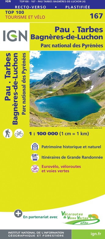 SV-167  Pau, Tarbes | omgevingskaart / fietskaart 1:100.000 9782758547754  IGN Série Verte 1:100.000  Fietskaarten, Landkaarten en wegenkaarten Franse Pyreneeën, Toulouse, Gers, Garonne