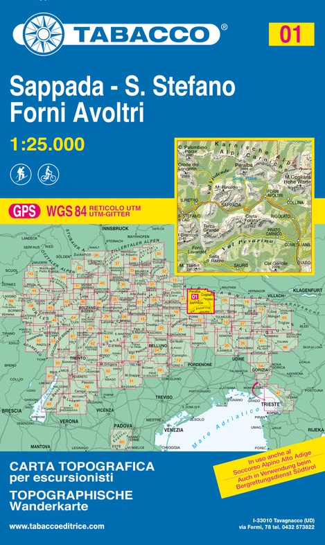 TAB-01  Sappada, Forni Avoltri   Tabacco wandelkaart 9788883150012  Tabacco Tabacco 1:25.000  Wandelkaarten Zuidtirol, Dolomieten, Friuli, Venetië, Emilia-Romagna