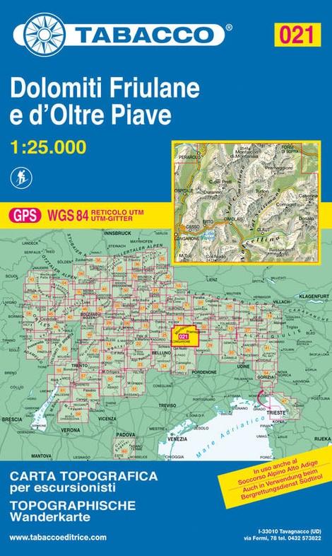 TAB-21  Dolomiti di Sinistra Piave   Tabacco wandelkaart 9788883150210  Tabacco Tabacco 1:25.000  Wandelkaarten Zuidtirol, Dolomieten, Friuli, Venetië, Emilia-Romagna