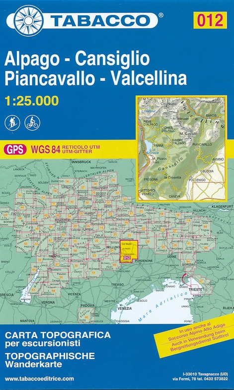 TAB-12  Cansiglio - Alpago - Piancavallo - Barcis | Tabacco wandelkaart 9788883151170  Tabacco Tabacco 1:25.000  Wandelkaarten Zuidtirol, Dolomieten, Friuli, Venetië, Emilia-Romagna