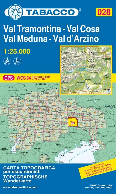 TAB-28  Val Tramontina/ Val Cosa/ Val d Arzino   Tabacco wandelkaart 9788883151200  Tabacco Tabacco 1:25.000  Wandelkaarten Zuidtirol, Dolomieten, Friuli, Venetië, Emilia-Romagna