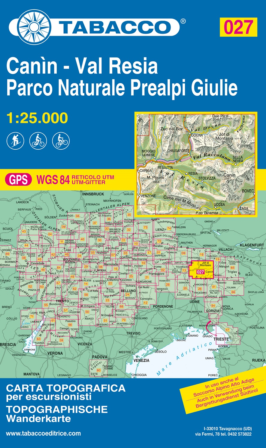 TAB-27  Canin - Valli di Resia e Raccolana   Tabacco wandelkaart 9788883151293  Tabacco Tabacco 1:25.000  Wandelkaarten Zuidtirol, Dolomieten, Friuli, Venetië, Emilia-Romagna