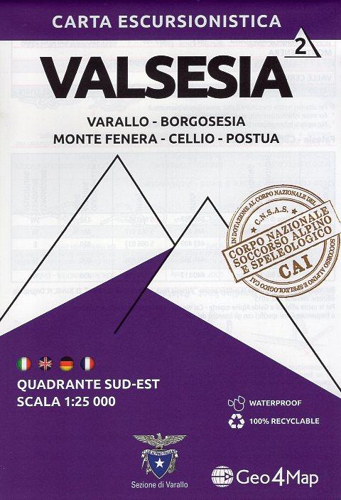 G4M-02 Valsesia (zuid-oost)   wandelkaart 1:25.000 9788899606329  Geo4Map   Wandelkaarten Ligurië, Piemonte, Lombardije