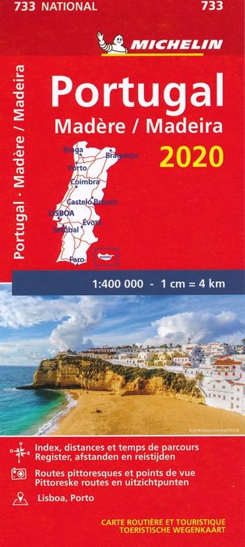733 Portugal 2020   Michelin  wegenkaart, autokaart 1:400.000 9782067243941  Michelin Michelinkaarten Jaaredities  Landkaarten en wegenkaarten Portugal