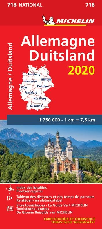 718 Duitsland 1:750.000, met register 2020 9782067244054  Michelin Michelinkaarten Jaaredities  Landkaarten en wegenkaarten Duitsland