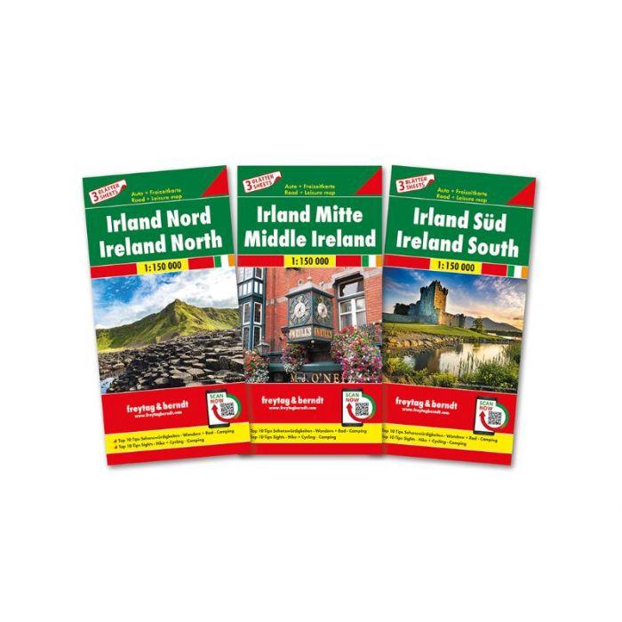 Ierland (set van 3 kaarten)   autokaart, wegenkaart 1:150.000 9783707918007  Freytag & Berndt   Fietskaarten, Landkaarten en wegenkaarten Ierland