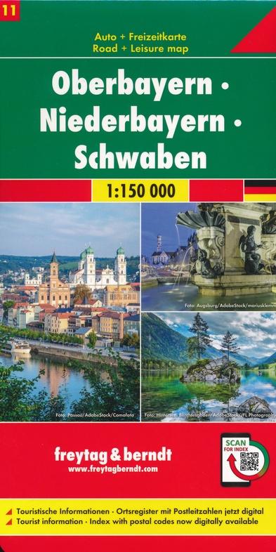 Oberbayern - Niederbayern - Schwaben wegenkaart / overzichtskaar 1:150.000 9783707918113  Freytag & Berndt F&B deelkaarten Duitsland  Landkaarten en wegenkaarten Beieren