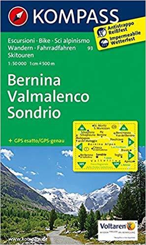 KP-93  Bernina, Sondrio 1:50.000 | Kompass * 9783850267281  Kompass Wandelkaarten Kompass Italië  Wandelkaarten Ligurië, Piemonte, Lombardije