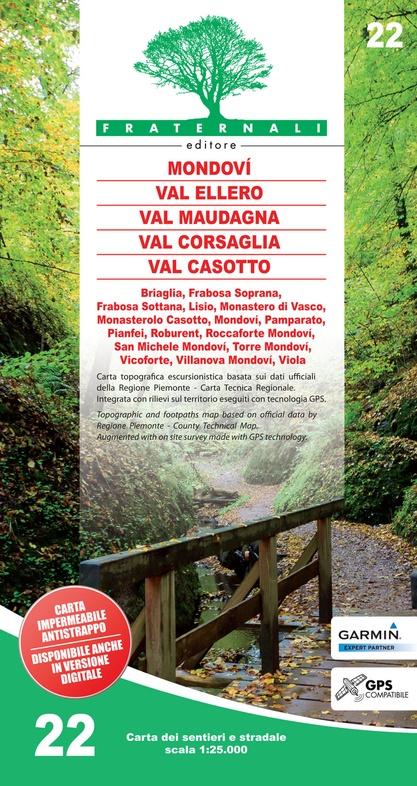 FRA-22 Mondovì - Valle Ellero - Val Maudagna - Val Corsaglia | wandelkaart 1:25.000 9788897465287  Fraternali Editore   Wandelkaarten Ligurië, Piemonte, Lombardije