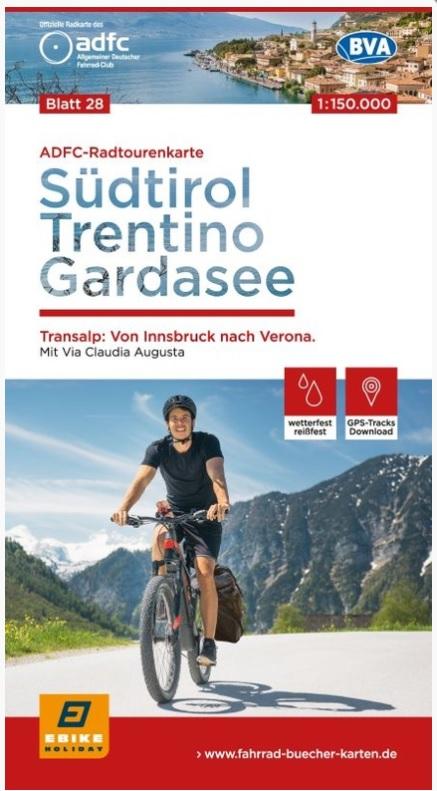 ADFC-28 Zuid-Tirol, Trentino, Gardameer | fietskaart 1:150.000 9783870739317  ADFC / BVA Radtourenkarten 1:150.000  Fietskaarten Zuidtirol, Dolomieten, Friuli, Venetië, Emilia-Romagna
