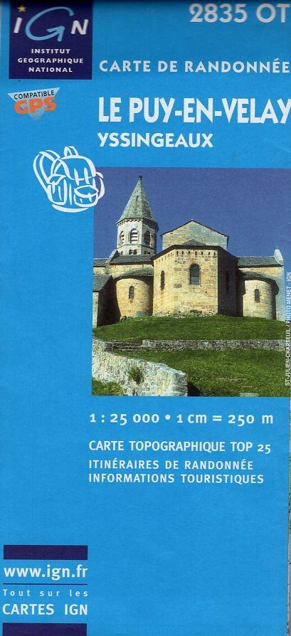 2835OT  Yssingeaux, le Puy-en-Velay   wandelkaart 1:25.000 3282112835016  IGN TOP 25  Wandelkaarten Auvergne, Cantal, Forez