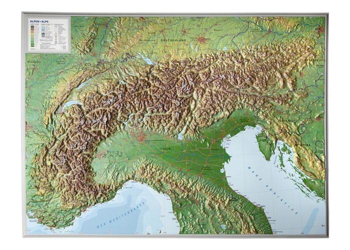 Alpen, 3-dimensionale reliefkaart 1:1.200.000 - zonder lijst 4280000002167  Georelief   Wandkaarten Zwitserland en Oostenrijk (en Alpen als geheel)