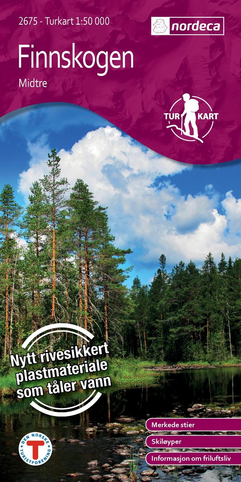 UG-2675  Finnskogen Midtre | topografische wandelkaart 1:50.000 7046660026755  Nordeca / Ugland Turkart Norge 1:50.000  Wandelkaarten Noorwegen boven de Sognefjord