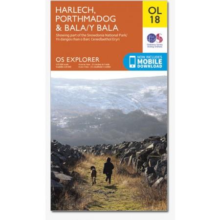 EXP-018  Snowdonia, Harlech, Bala Areas   wandelkaart 1:25.000 9780319242575  Ordnance Survey Explorer Maps 1:25t.  Wandelkaarten Noord-Wales, Anglesey, Snowdonia