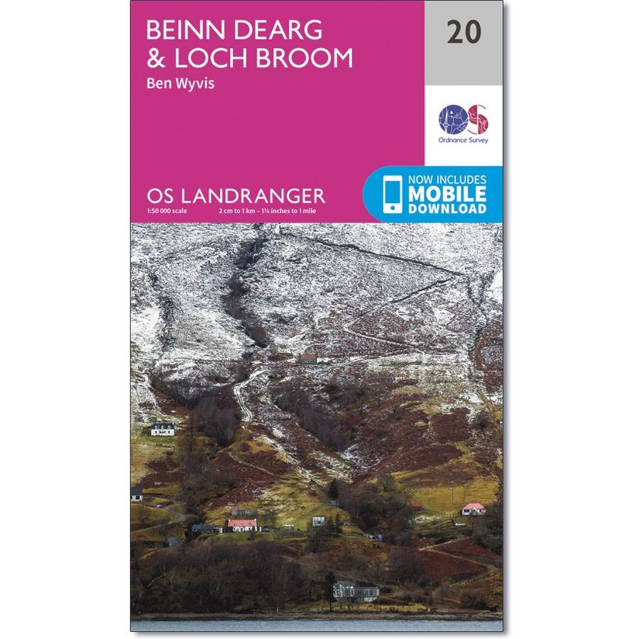 LR-020  Benin Dearg   topografische wandelkaart 9780319261187  Ordnance Survey Landranger Maps 1:50.000  Wandelkaarten de Schotse Hooglanden (ten noorden van Glasgow / Edinburgh)