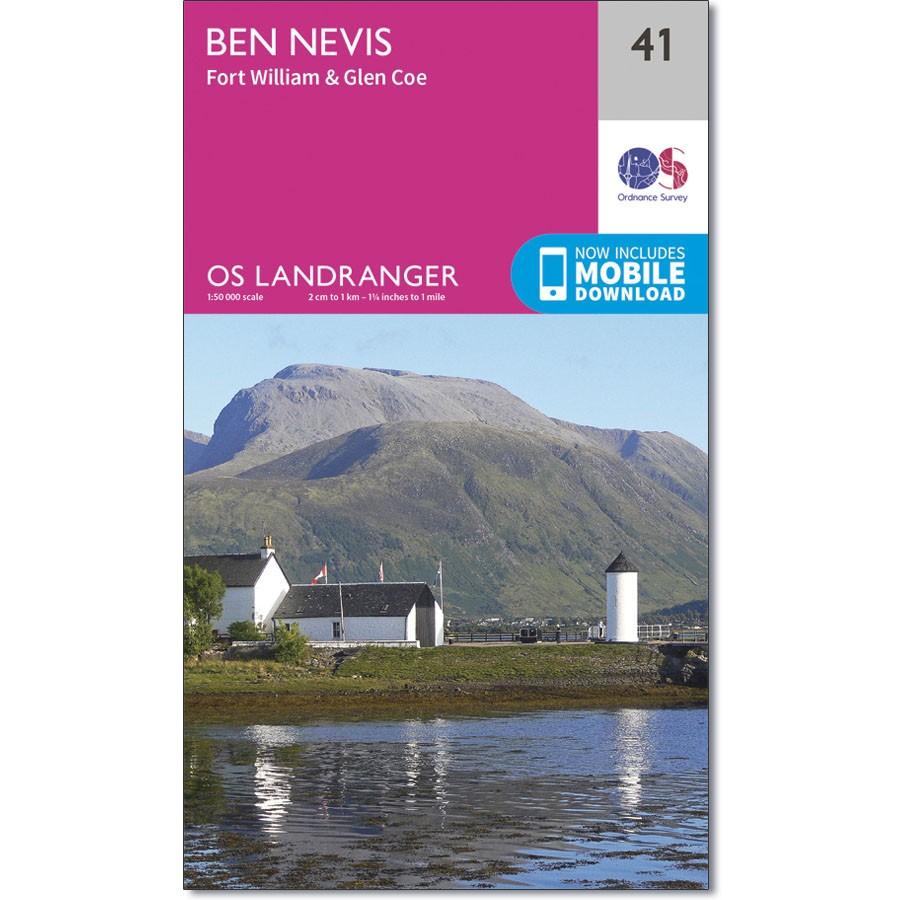 LR-041  Ben Nevis, Fort William & Glen Coe | topografische wandelkaart 9780319261392  Ordnance Survey Landranger Maps 1:50.000  Wandelkaarten de Schotse Hooglanden (ten noorden van Glasgow / Edinburgh)