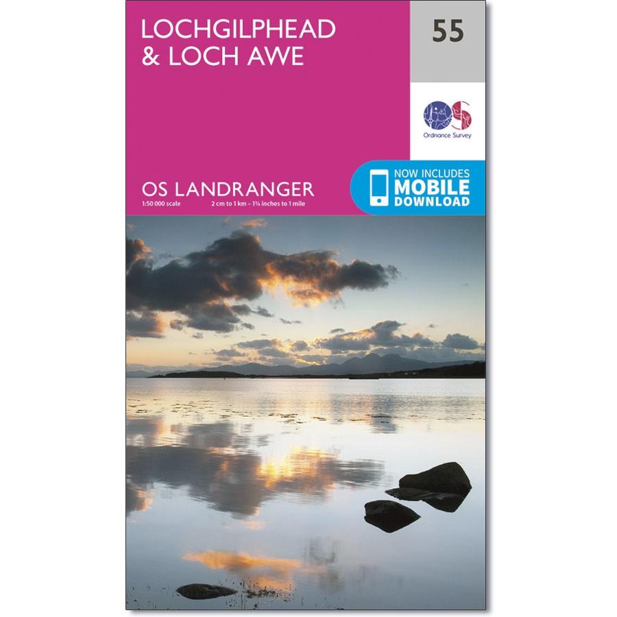 LR-055  Lochgilphead, Loch Awe | topografische wandelkaart 9780319261538  Ordnance Survey Landranger Maps 1:50.000  Wandelkaarten de Schotse Hooglanden (ten noorden van Glasgow / Edinburgh)